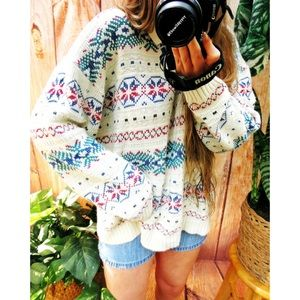 Vintage retro printed collared knit sweater 